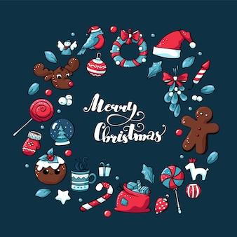 Doodle corona de navidad con elementos dibujados a mano