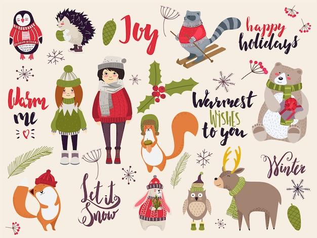 Doodle criaturas navideñas, lindos animales y personas en ropa de invierno, ilustración dibujada a mano