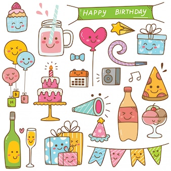 Doodle de cumpleaños en la ilustración de vector de estilo kawaii