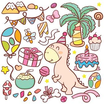 Doodle de cumpleaños lindo dinosaurio