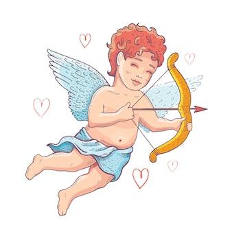 Doodle cupido, querubín de dibujos animados para el día de san valentín.