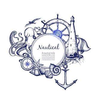 Doodle de icono de composición marina náutica