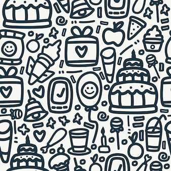 Doodle design birthday pattern