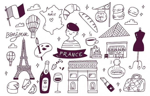 Doodle de destino de viaje de francia