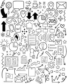 Doodle dibujado a mano elementales negocios