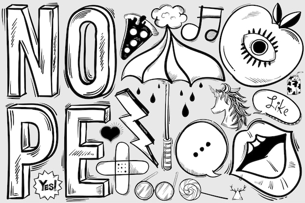 Doodle dibujado a mano funky