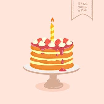 Doodle dibujado a mano ilustración de pastel de cumpleaños