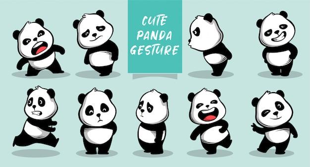 Doodle dibujado a mano lindo icono de panda