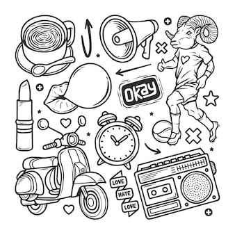 Doodle dibujado a mano pegatinas