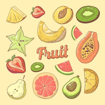 Doodle dibujado a mano de piezas de fruta con papaya