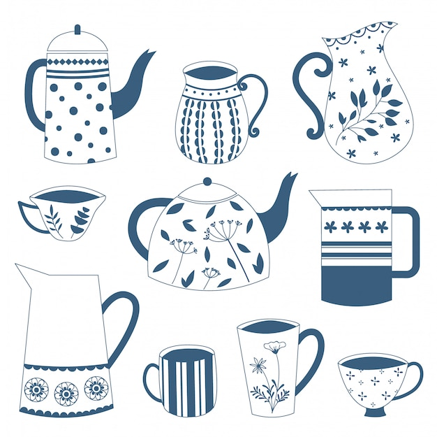 Doodle dibujado a mano porcelana azul china tetera y tazas. diseño vectorial
