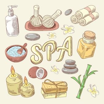 Doodle dibujado a mano de spa y bienestar