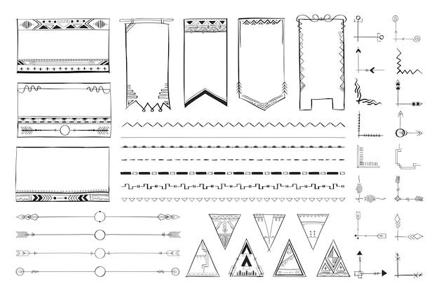 Doodle dibujado a mano vector ornamental conjunto de estilo bohemio