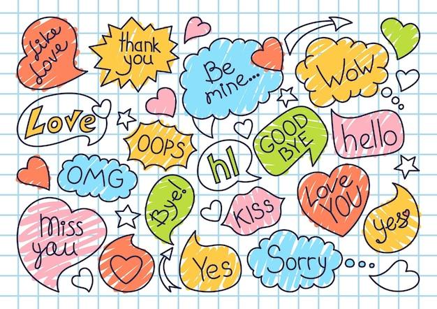Doodle de dibujo de burbujas de discurso en cuaderno de jaula. diseño de arte pop
