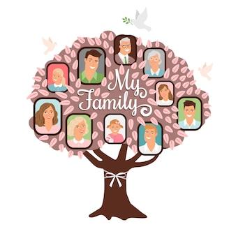 Doodle de dibujos animados de árbol genealógico