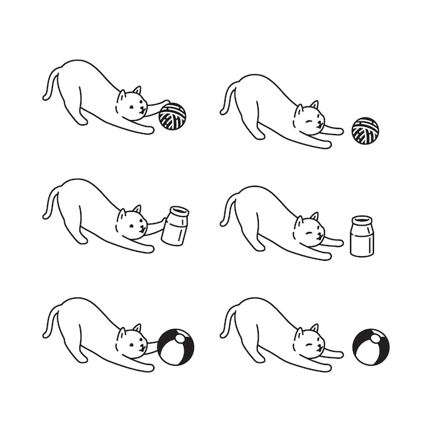 Doodle de dibujos animados de carácter de bola de hilo de mascota de gato gatito calicó