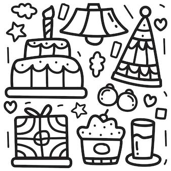 Doodle de dibujos animados de cumpleaños para colorear ilustración de diseño