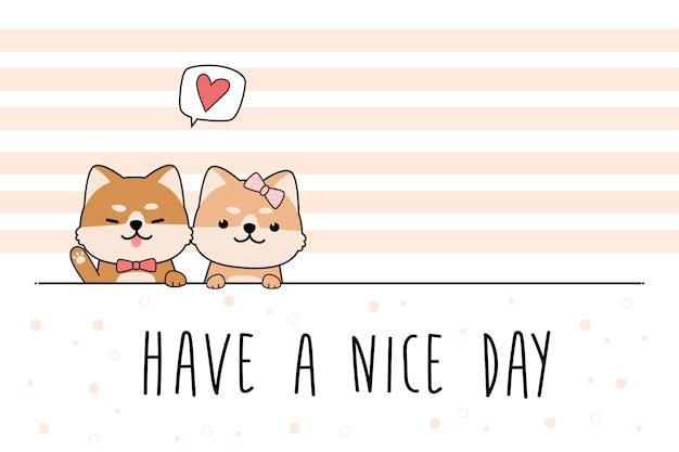 Doodle de dibujos animados lindo saludo de perro shiba inu