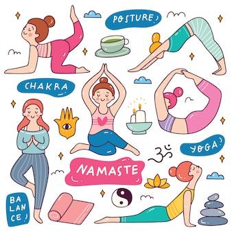 Doodle de dibujos animados de mujer haciendo yoga
