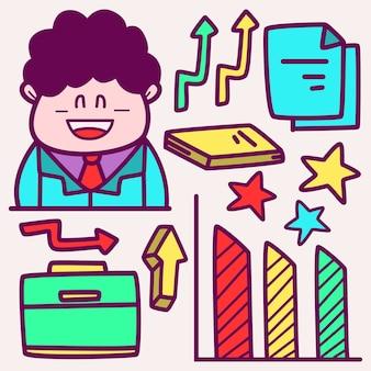 Doodle de dibujos animados de negocios