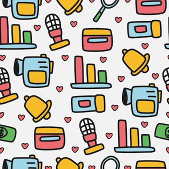 Doodle dibujos animados de patrones sin fisuras