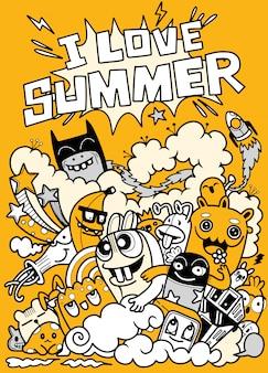 Doodle divertido me encanta la ilustración de verano