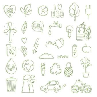 Doodle ecológico. concepto de energía verde colección de imágenes medio ambiente limpio ahorrar aire bio co2 crecimiento de la planta. eco reciclar, guardar ilustración de energía verde