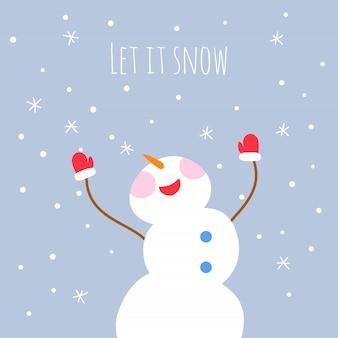 El doodle del ejemplo del muñeco de nieve lo dejó nevar