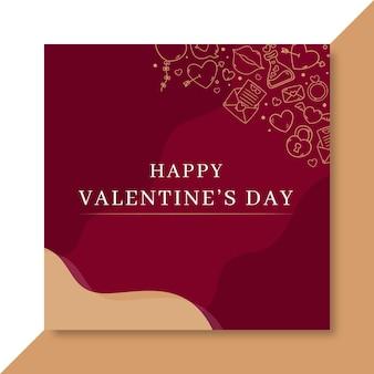 Doodle elegante plantilla de publicación de instagram de san valentín