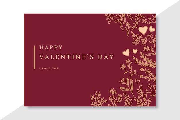 Doodle elegante plantilla de tarjetas de san valentín