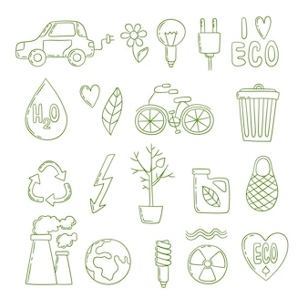 Doodle de energía verde. ambiente limpio planta de energía global co2 crecimiento ecológico bosquejo limpio. ilustración eco ambiental, conservación y ahorro de energía.