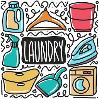 Doodle de equipo de lavandería dibujado a mano con iconos y elementos de diseño