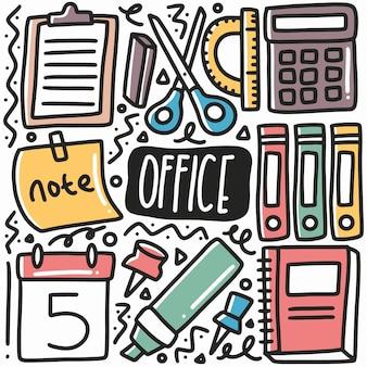 Doodle de equipo de oficina dibujado a mano con iconos y elementos de diseño