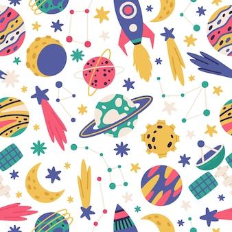 Doodle espacio cósmico de patrones sin fisuras planetas nave espacial y estrellas ilustración vectorial de dibujos animados
