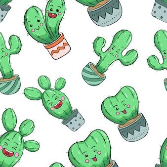 Doodle estilo de cactus kawaii en patrones sin fisuras con cara bonita