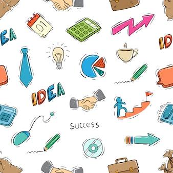 Doodle estilo de iconos de negocios lindo en patrones sin fisuras