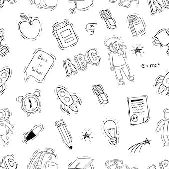 Doodle estilo de regreso a la ilustración de la escuela en patrones sin fisuras