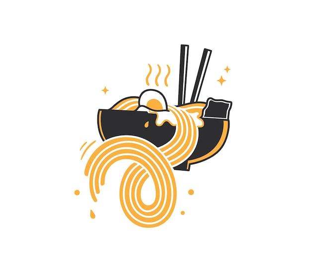 Doodle de fideos japoneses en un tazón