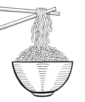 Doodle de fideos en un tazón y palo