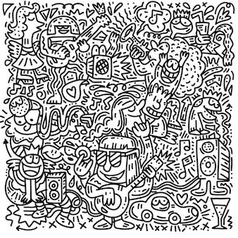 Doodle de fiesta de música, garabatos dibujados a mano incompletos conjunto de dibujos animados de música