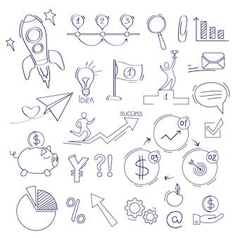 Doodle de finanzas. negocios comercio dinero inversión y crecimiento banco vector bosquejo iconos conjunto. ilustración finanzas dinero doodle, stock sketch financiero