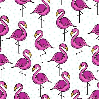 Doodle flamingo pattern