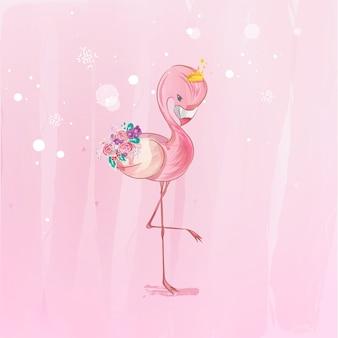 Doodle flamingo pintura acuarela en floral.