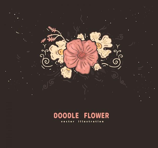 Doodle flor rosa con flor blanca