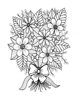 Doodle floral dibujado a mano