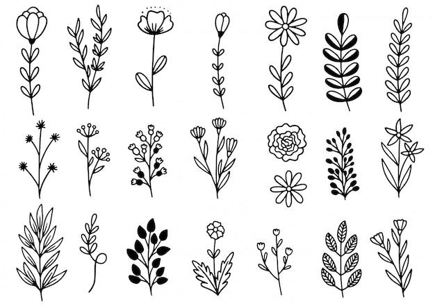 Doodle de flores dibujadas a mano