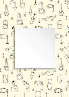 Doodle fondo de manicura con marco cuadrado, concepto de moda y maquillaje