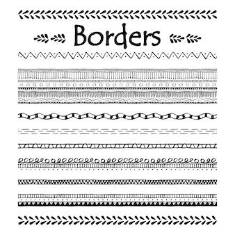 Doodle frontera sin costuras. conjunto de elementos de doodle.