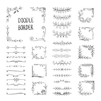 Doodle frontera marco de adorno de flores, elementos de esquina decorativos dibujados a mano, patrón de dibujo floral. elementos del marco del doodle