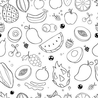 Doodle de frutas de patrones sin fisuras